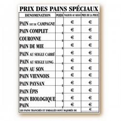 """Panneau tarif """"Prix du pain spéciaux"""""""