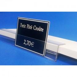 Profil monobloc porte-étiquettes pince tablette verre - Prix du Mètre: