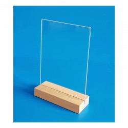 5 Supports plexi avec socle en bois chêne naturel - vertical à poser - 2 faces - A partir de: