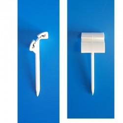 25 Piques prix PVC blanc 2 positions - ht 55 mm