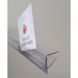 Profil monobloc porte-étiquettes pince tablette verre - ht 20 x lg 1000 mm