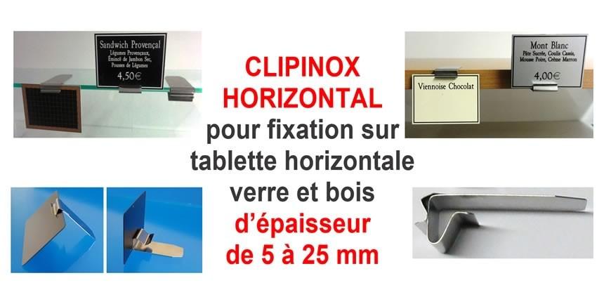 Supports étiquettes CLIPINOX, à clipper sur les rebords de tablettes horizontales!